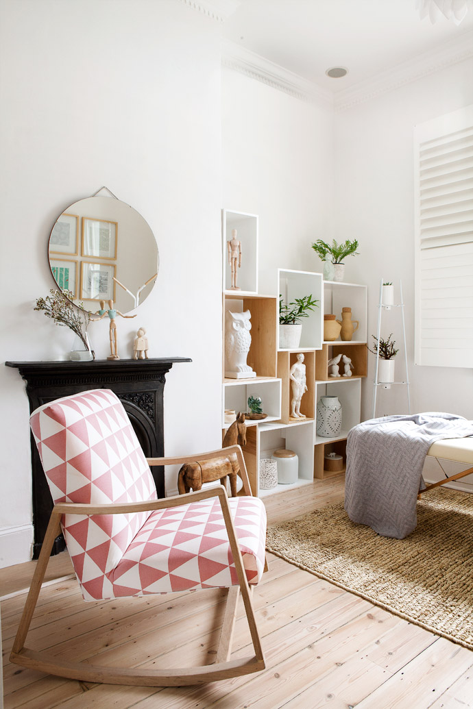 The rocking chair in the second treatment room is modelled on a 1960s original from Lulu's home. The Victorian fireplace  and the box shelves from Pedersen and Lennard house acollection of trinkets, vases and other objects from Present Space, Loft Living, Weylandts, Stable and Arabesque.