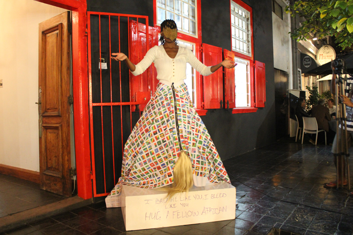 Sethembile Msezane's performance piece at the AVA's first Open Stoep Residency