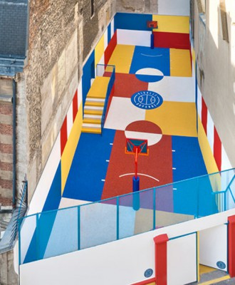 colourful spaces pigalle duperr basketball court