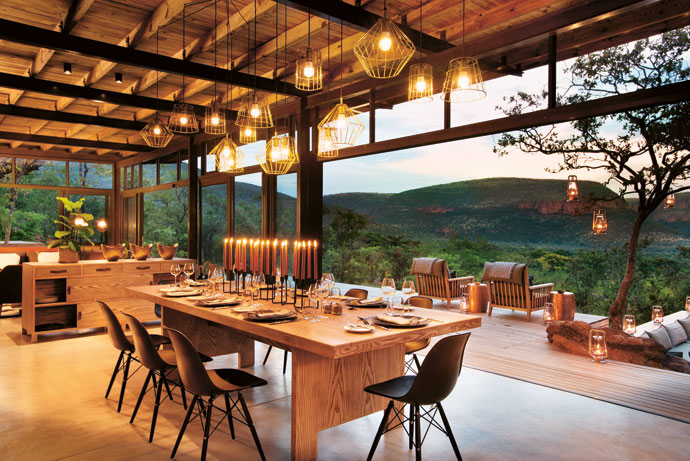 """Lighting was one of the interior design challenges, says Megan. """"We're restricted to LED lighting due to the limited power supply. We combined lanterns, Consol solar jars and candles with the architectural and decorative lighting to achieve the warm ambience of abush lodge."""""""