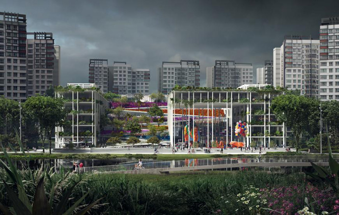 Commercial Mixed-use: Gardens at Punggol, Singapore (Serie + Multiply Consultants)