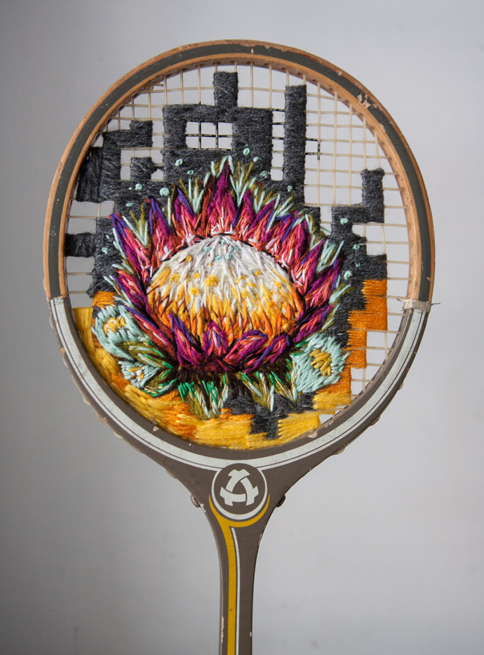 Danielle Clough's Embroidered Rackets