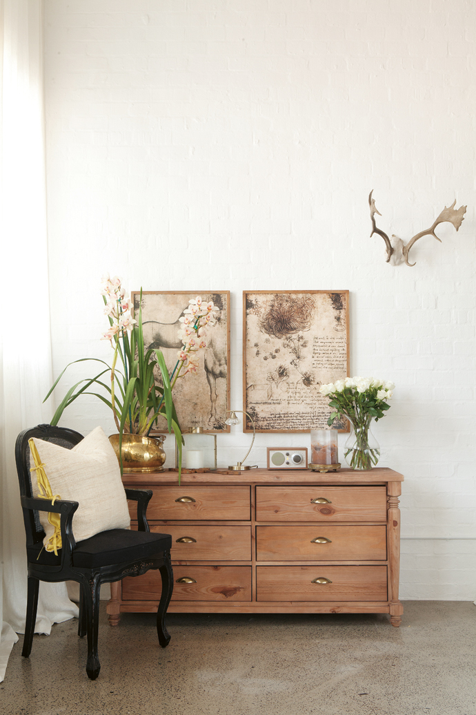 The black ball-and-claw chair and the chest of drawers are both from @homelivingspace.