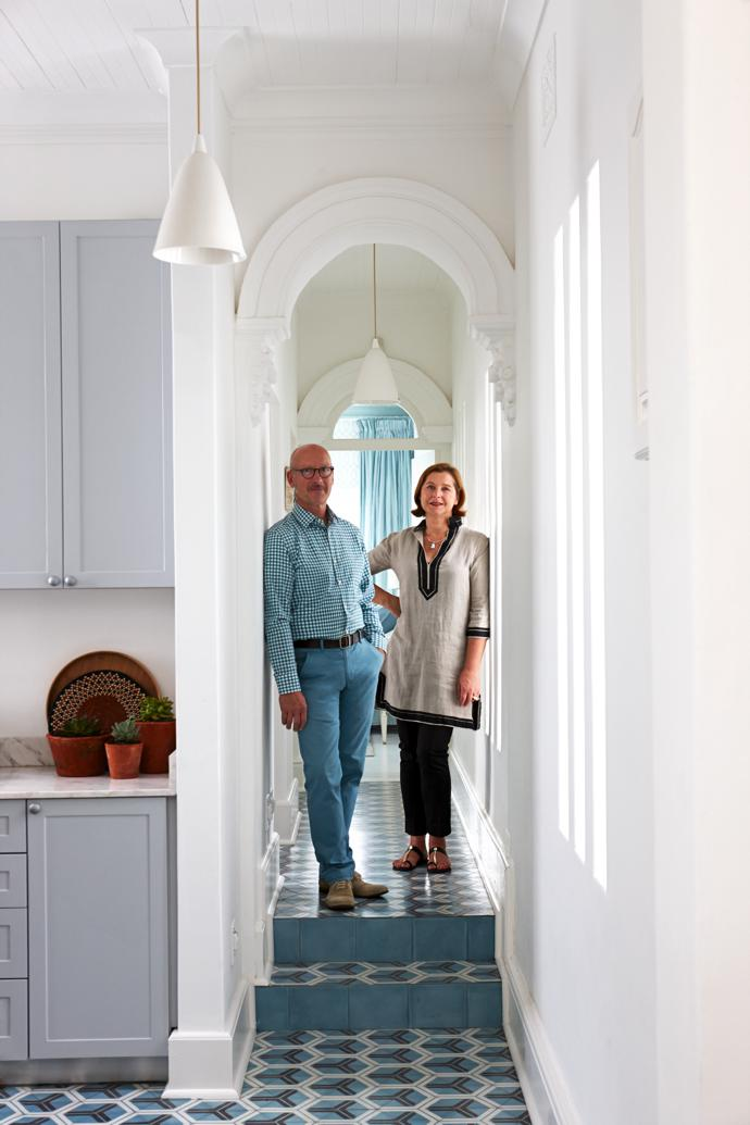 Thomas and Elizabeth imported the patterned floor tiles laid in the passage and kitchen from Popham Design in Marrakech, Morocco.