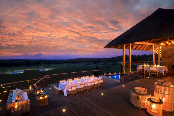 Dinner can be enjoyed on the deck of the main lodge after a game drive.
