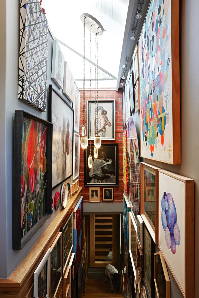 On the far back wall of the passage are two works by Shany van den Berg, and in the foreground (bottom, left) the colours of a local Olaf Hajek converses with that of the American Mike Perry (top, right).