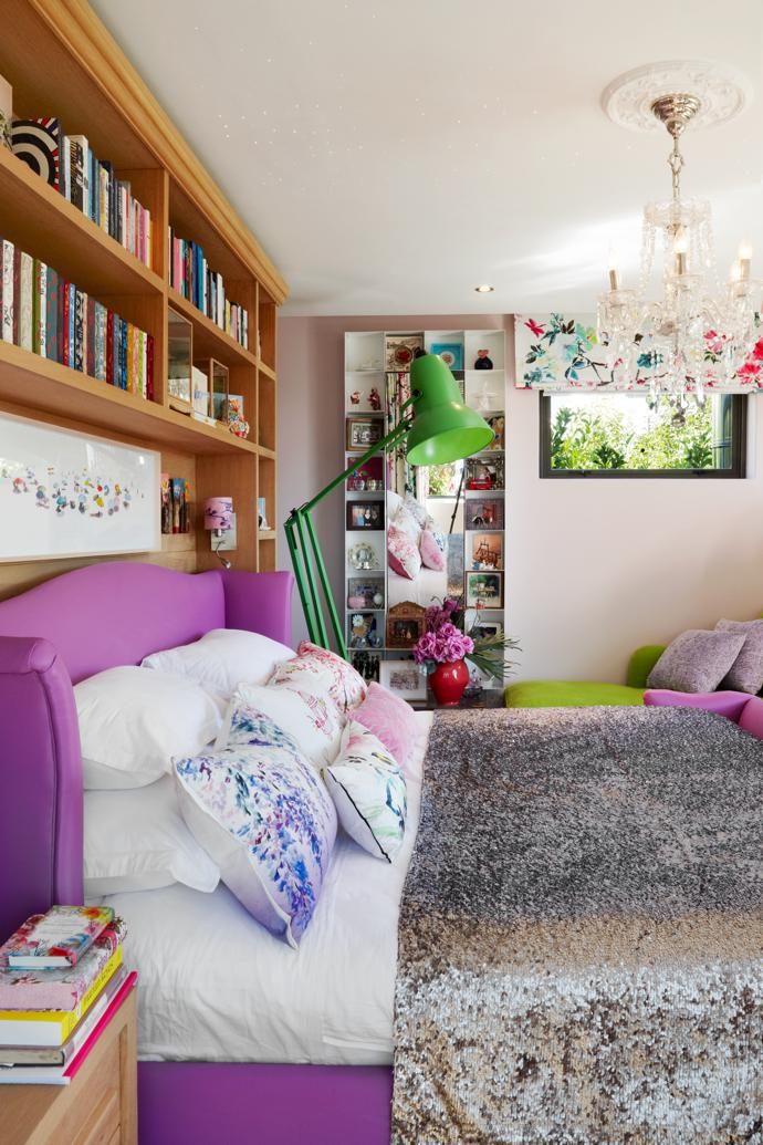 Berdine's upstairs bedroom boasts magnificent views of Lion's Head. Her violet bed is by Moorgas & Sons and the grass-green floor lamp is from the Anglepoise designer lighting collection at Heal's.