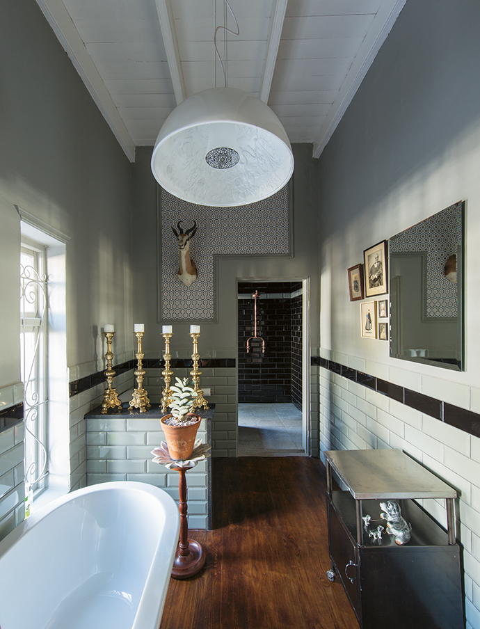 The large, luxurious guest bathroom with its traditional Victorian bath demands that candles be lit and long baths be taken.