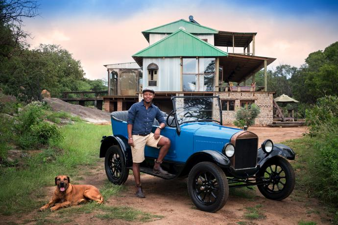Beks is as fond of his 1926 Model T Ford as he is of Thula, one of his two Rhodesian ridgebacks.