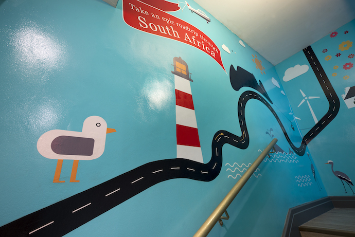 A playful South African road map leads you upstairs to the rooftop.