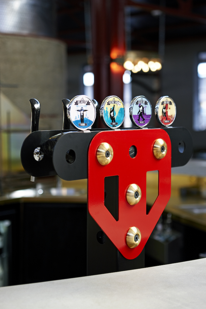 The beer tap towers also reference Meccano sets.