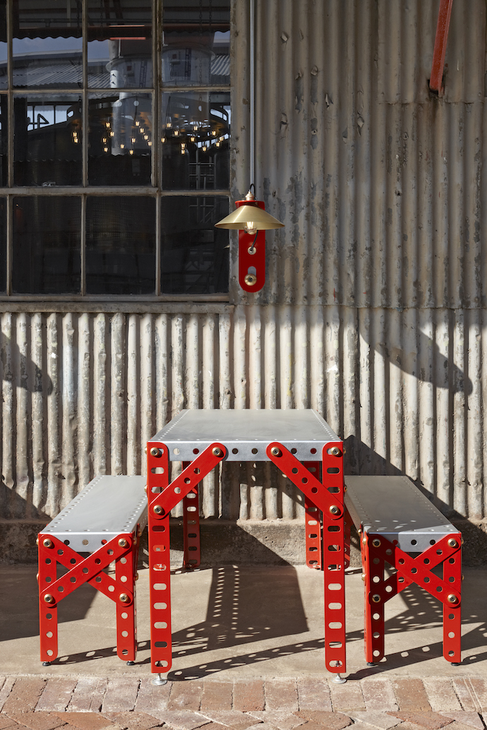 A close-up of the custom-made Meccano inspired furniture. The concept draws on the mad, DIY mindset of Mad Giant and plays with scale to reference the giant of the brand.