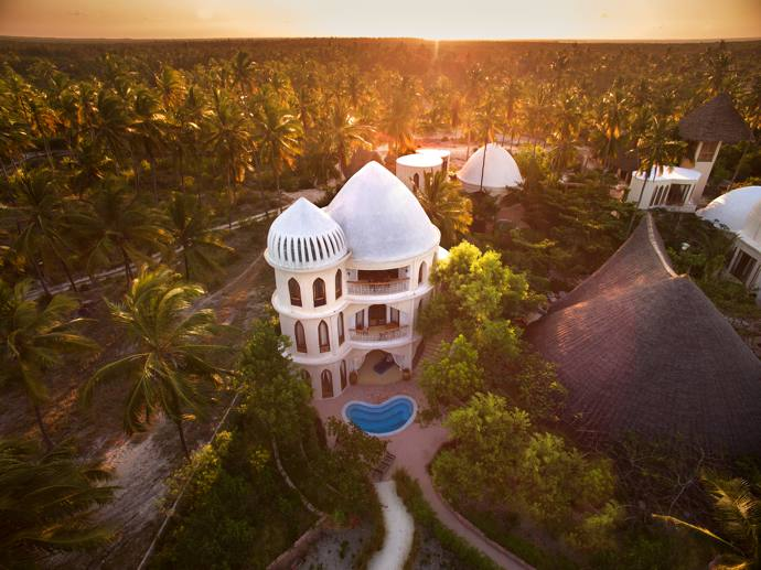 The two-bedroomed main villa, Mbingu (Swahili for heaven or sky), has a paparazzi-free intimate pool behind the slits of the domed tower. The Arabic-style windows are made from the ribs of an old dhow.