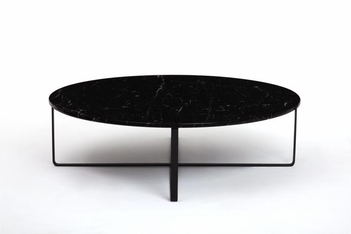 Perfectly Poised On A Mild Steel Base, This Nero Marquina Marble Table  Achieves Instant Heirloom Status.