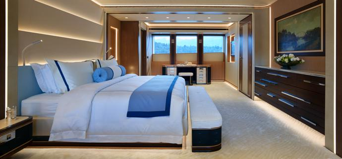 The tastefully appointed master suite is set forward on the main deck.