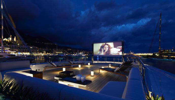 The outdoor cinema space on the foredeck doubles as a helipad.