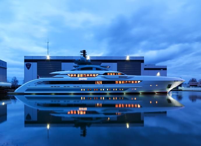 The 70 m-long Galactica Super Nova has an aluminium hull and superstructure.