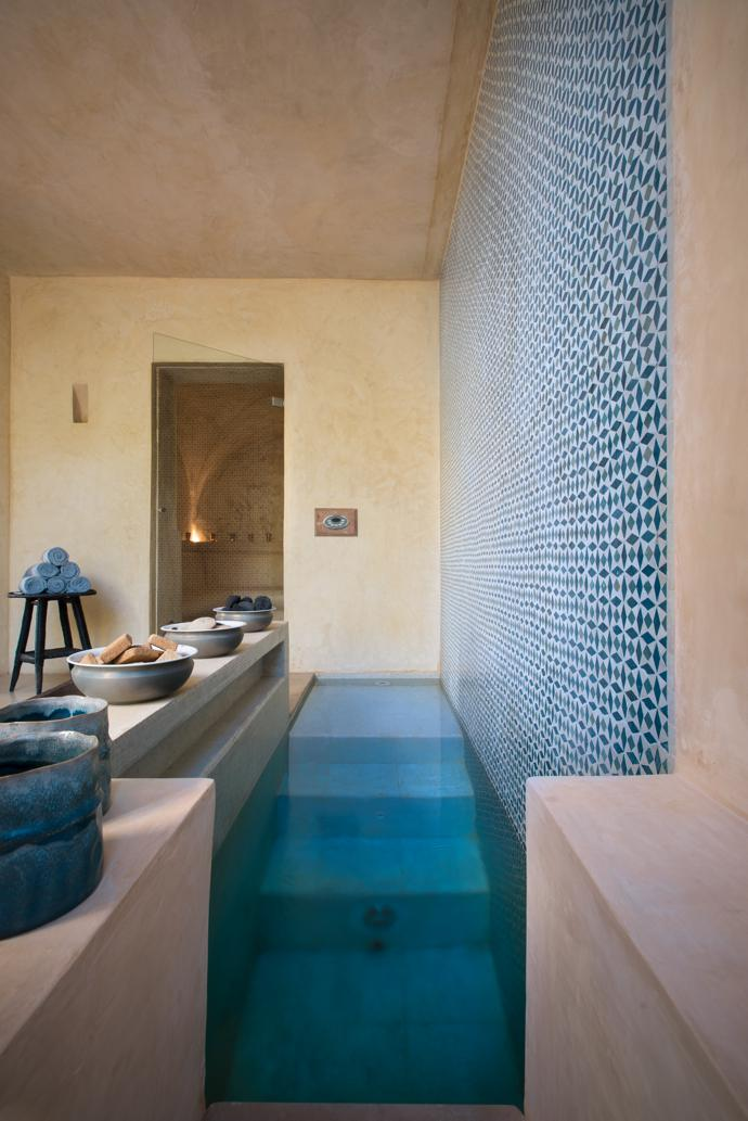The Moroccan tiled cold pool in the spa, and the hammam beyond.