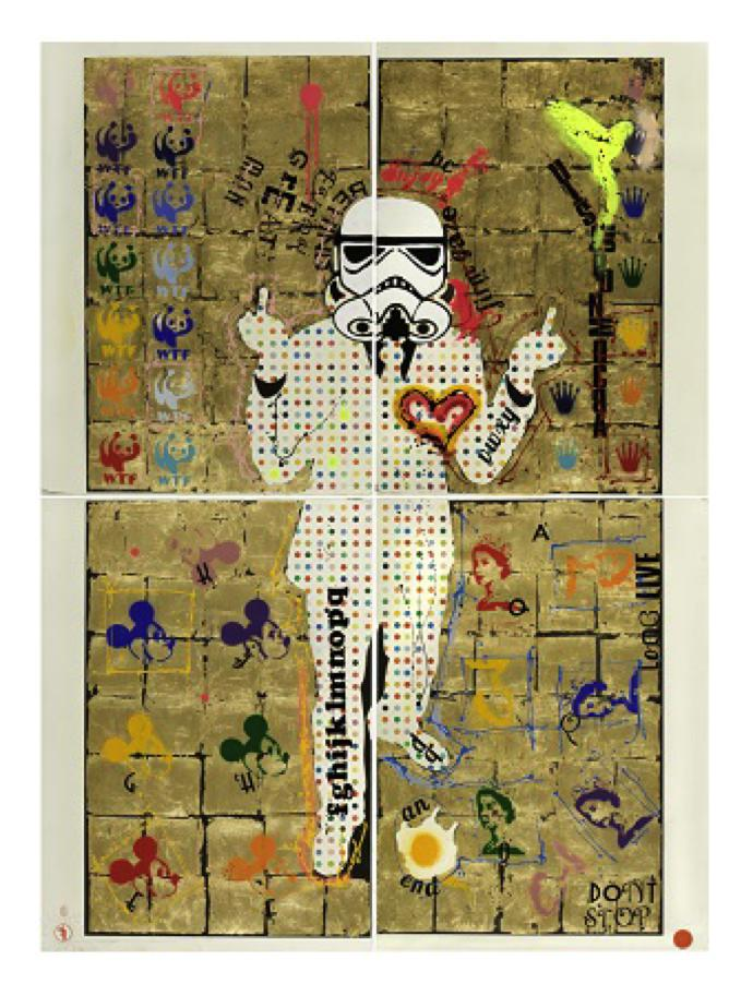 Worldart_Fringe_Trooper Bloch-Bauer_225cm X 167cm_gold leaf, spray & ink on embedded motif_ 2017_M