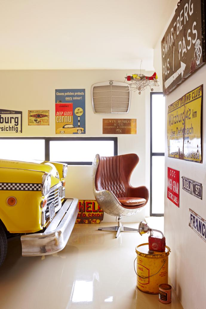 The taxi's living room – Dieter isn't fond of the term garage – features a Banshee Egg Chair by Spitfire.