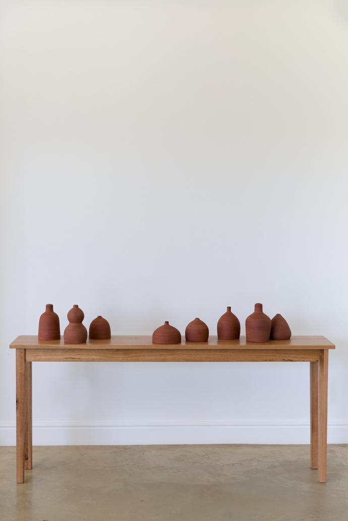 Van Dienste Tafel, a table in oak, R13 500, and a selection of ceramics called Klei.