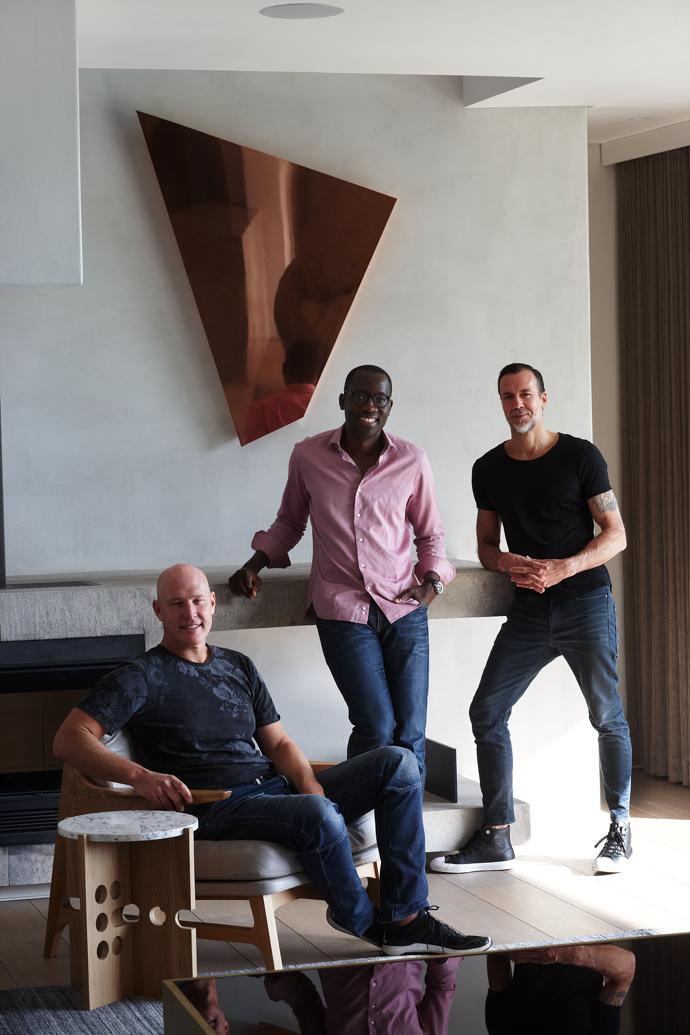 From left, architect Dion Walters, homeowner Acha Leke and designer Adam Court.