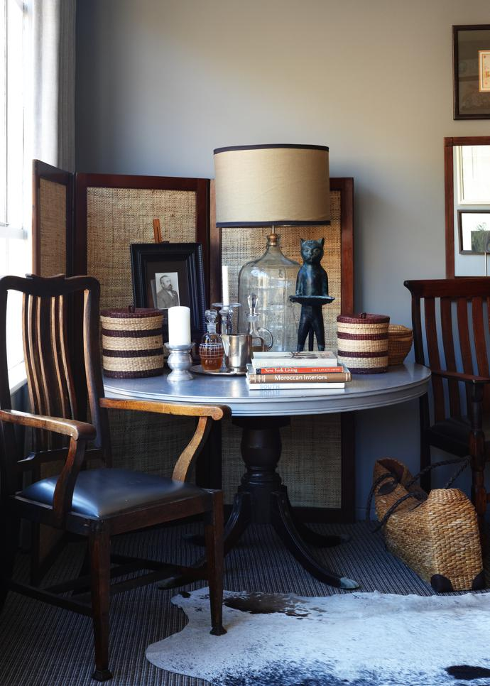 "David has collected and restored furniture for years. A keen curator, he enjoyed the challenge of consolidating and refining his collection to fit this micro space. ""A house must live with you,"" he says."" Over the years you just get a sense for what works."""