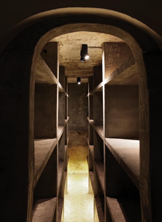 """The original winemaker's private cellar has been left untouched. """"This,"""" says Tracy, """"becomes then the physical embodiment of the intuitive unconscious space, the same psychological space from which the entire project has grown and found its expression."""""""