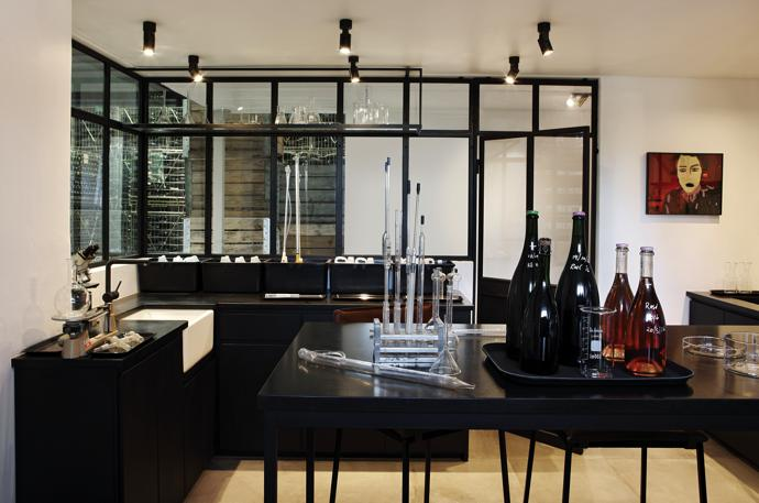 All the units in the winemaker's laboratory are by interior architect Conrad van der Westhuizen.