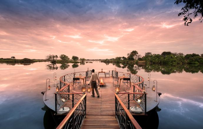 A floating timber-and-steel jetty, complete with a fire pit for dining and drinks, links the lodge to the river. It also gives guests easy access to the boats used for sunset cruises, birding and fishing.