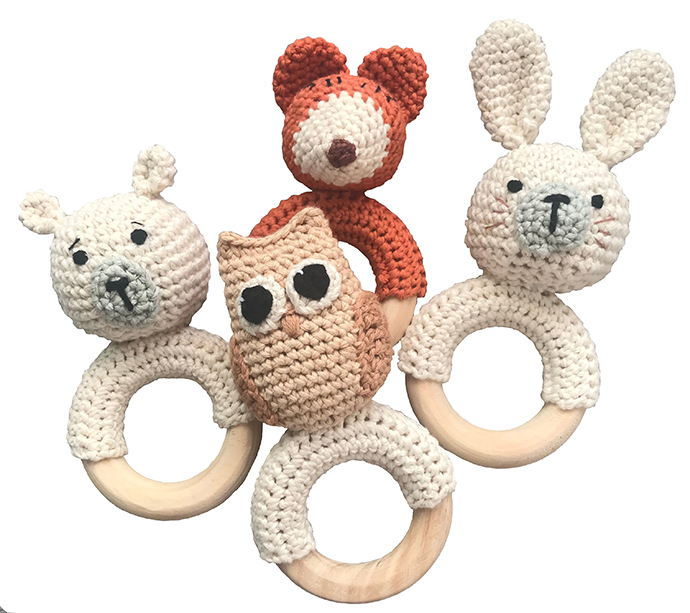 Crochet rattles, hand-made in organic cotton and wood, R265 each.