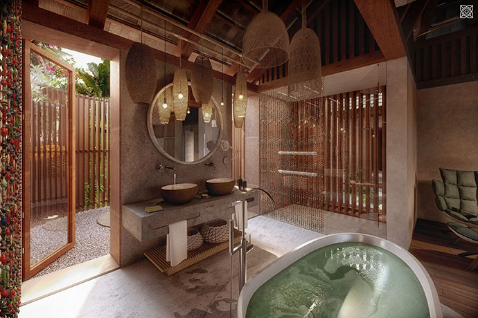 Private villa bathroom.