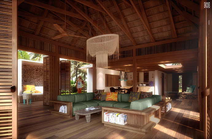 Private villa living room.