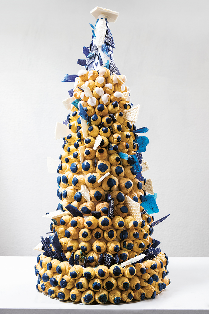 An avant-garde croquembouche showstopper by Jackie Dolce.