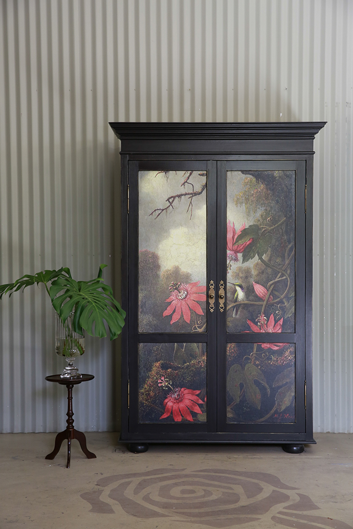 An On Trend Armoire With Big Botanicals U2013 Martin Johnson Headeu0027s Passion  Flowers And Hummingbirds