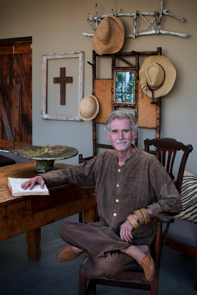 David in his summerhouse, which is furnished with a mix of collected and inherited pieces.