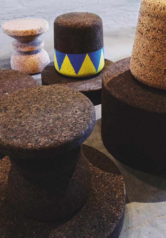 Cork stools by Wiid Design.