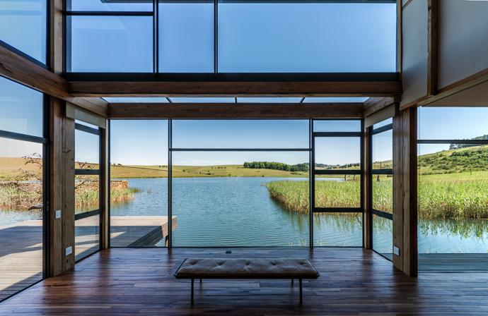 The client brief called for floor-to-ceiling glass on the lakeside facade of the house.