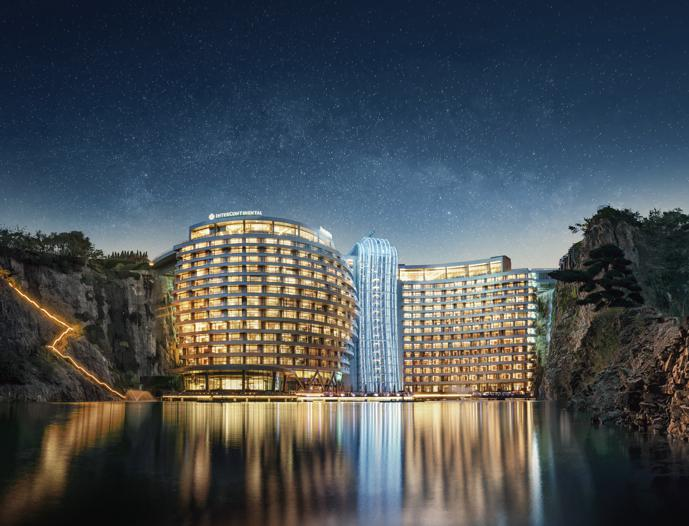 The exterior of InterContinental Shanghai Wonderland - night 2