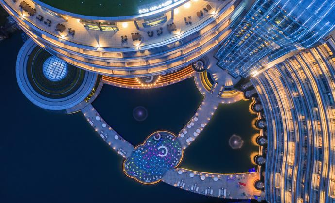 The exterior of InterContinental Shanghai Wonderland - night