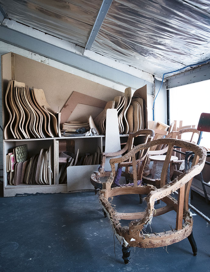 An antique chair carcass that's being prepared for refurbishment for a new restaurant, Salsify @ The Roundhouse.