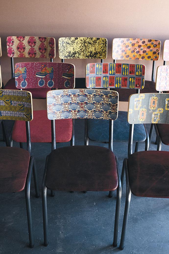 Shweshwe-print school chairs.
