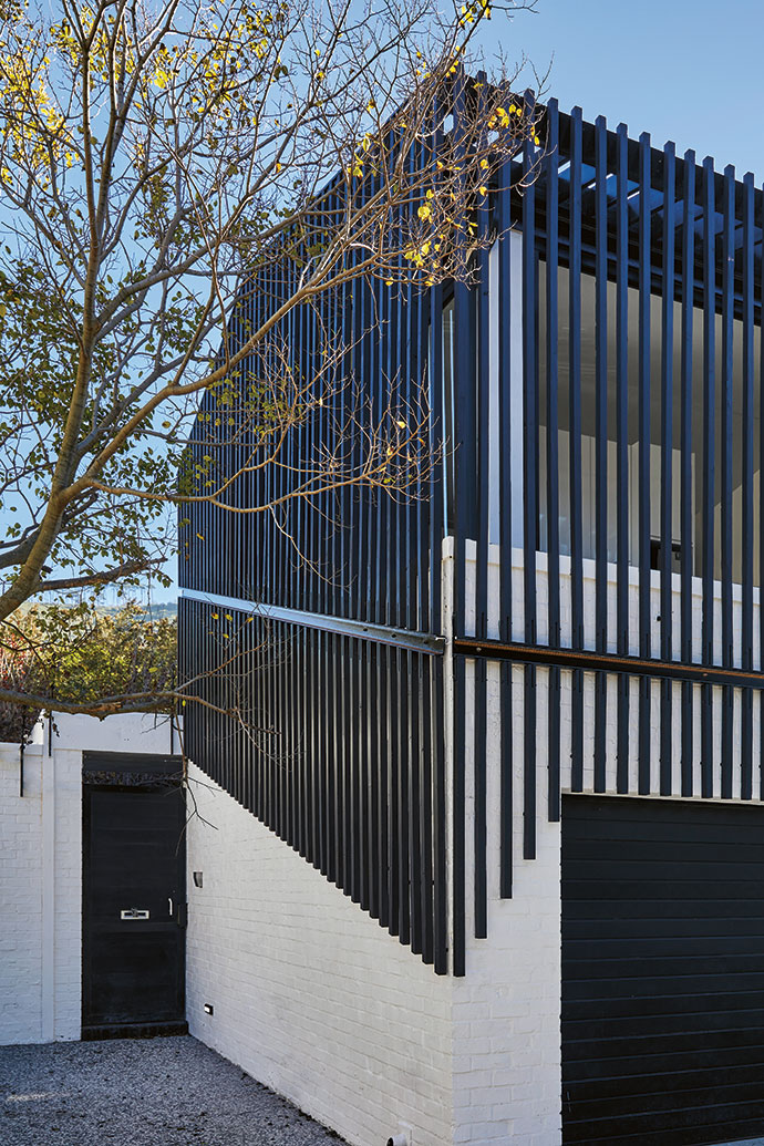 Arresting exterior cladding creates interest and ensures privacy.