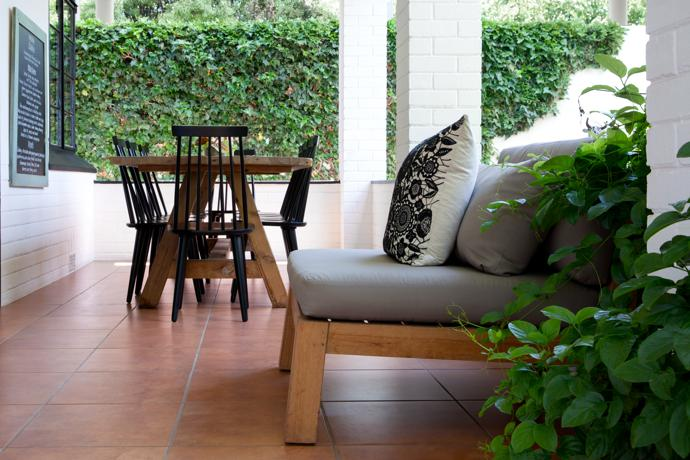 The outdoor chairs and table outdoor are from La Grange Interiors.