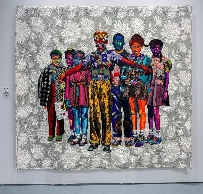 """The Safety Patrol"" (2018), quilted and appliquéd cotton, wool and chiffon, 90 x 82 in / 228.6 x 208.3 cm"