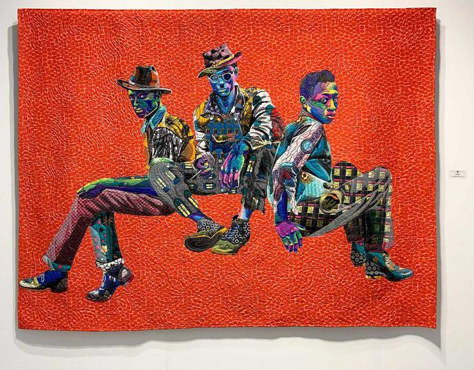 """Three Kings"" (2018), quilted and appliquéd cotton, wool and chiffon, 95 x 72 in / 241.3 x 182.9 cm"