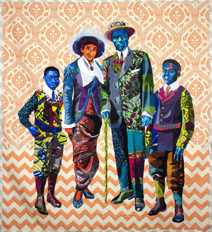 """Black Star Family, first class tickets to Liberia"" (2018), cotton, silk chiffon, satin, silk and lace, 79 x 85 in / 200.7 x 215.9 cm"