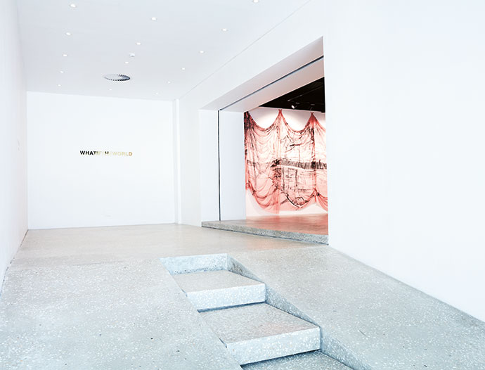The intention of Justin's entrance design is to funnel visitors into the gallery, where they are instantly met with art, in this case pieces and an installation by Michael Taylor in a show called Boy. Boat. Bat