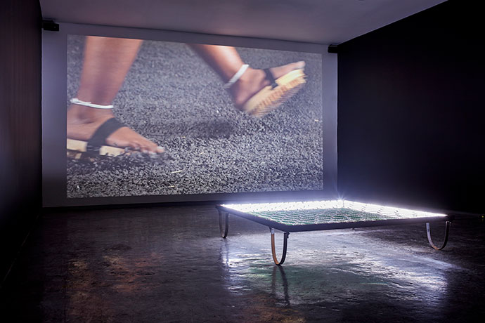 A video installation by Lungiswa Gqunta in the moving image room.
