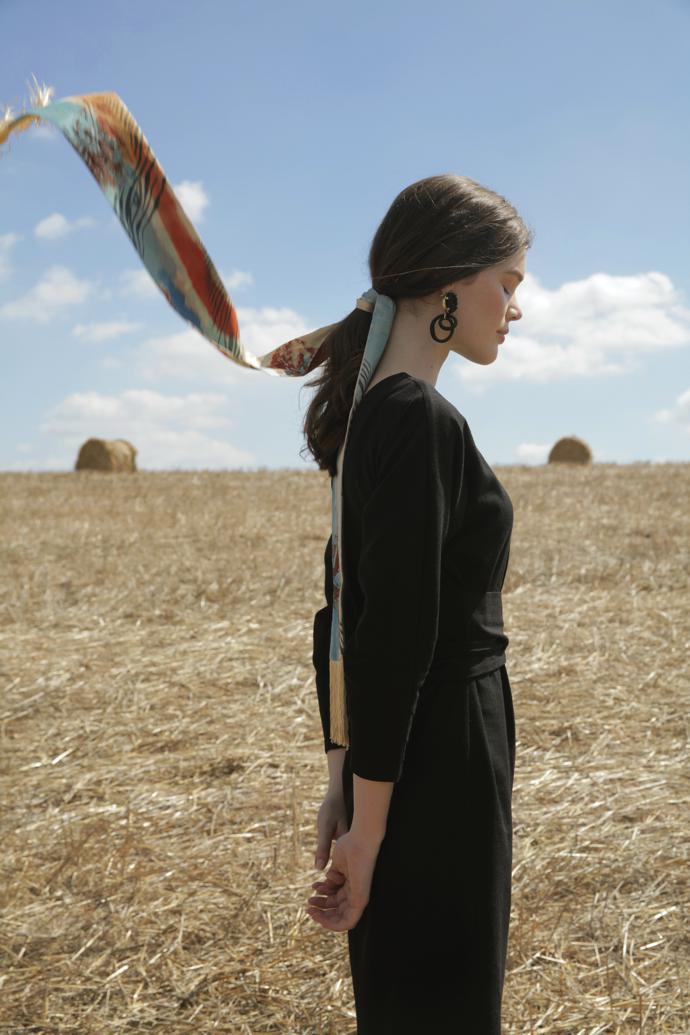 Model Amy Greener wears Mantua Silkwear scarf, Labyrinth A earrings and Labyrinth A earrings.
